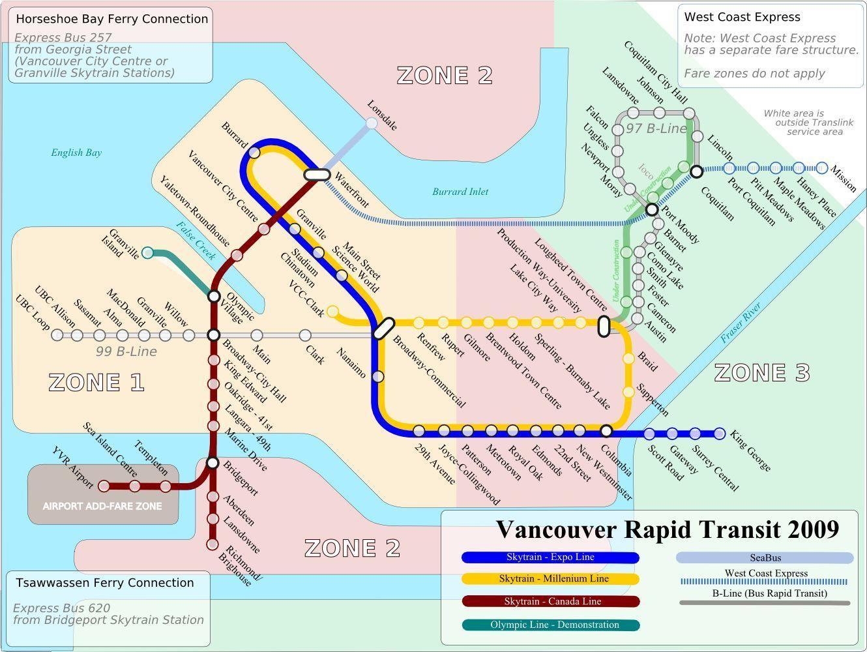 Vancouverin Julkinen Liikenne Kartta Julkisen Liikenteen Kartta