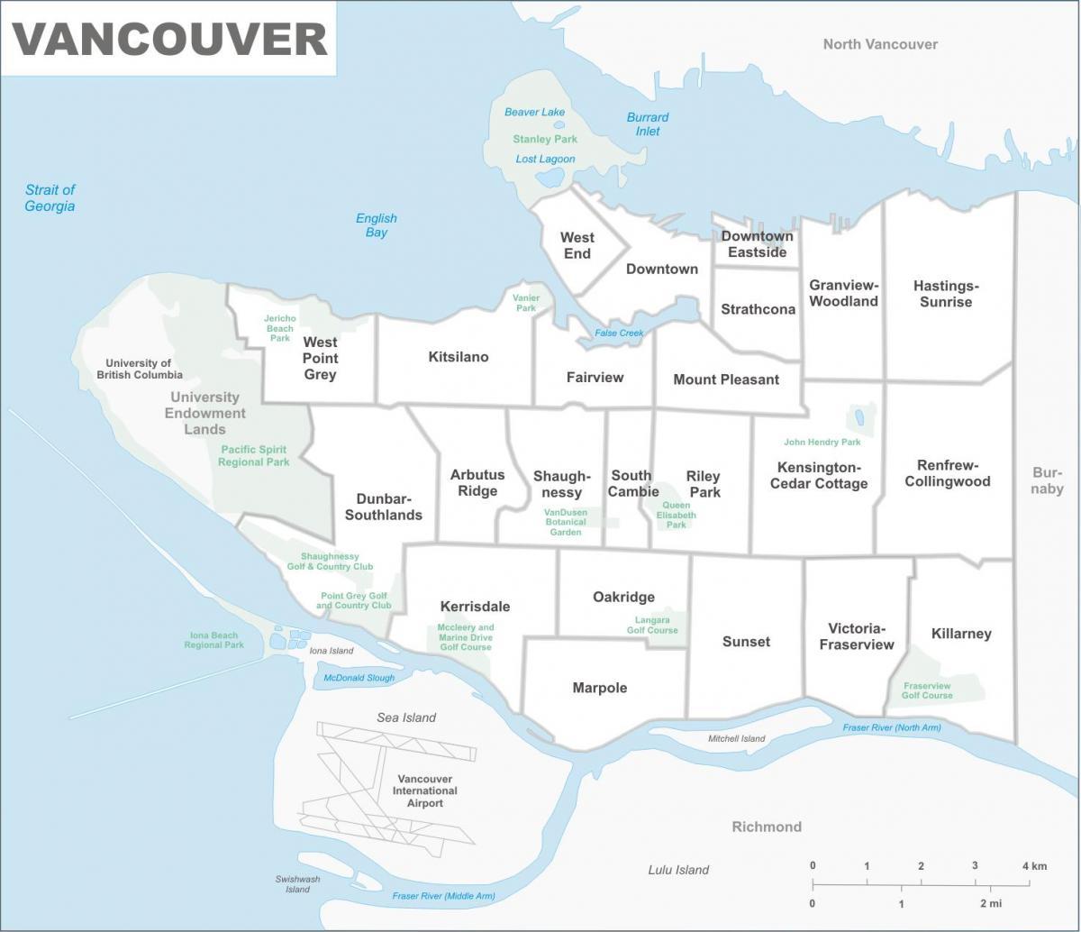 Vancouver Kiinteistovalitys Kartta Kartta Vancouver Omaisuutta